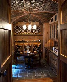 Wine Room- obsessed. Change the light fixture and we are set!!