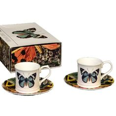 """The Butterfly Espresso Set  Each Cup is 2"""" by 2 1/4"""" Diameter. Saucer is 4 1/3"""" Diameter Features a matching Gift Box Vegan Friendly Fine China Vintage British Illustrations  Dishwasher & Microwave Safe The Prefect Gift for the Nature Lover"""