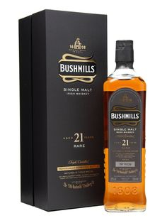 Bushmills Malt 21 Year Old / Madeira Finish : Buy Online - The Whisky Exchange - A mix of bourbon and sherry casks matured for 19 years before the last two years are spent finishing in ex-Madeira casks, this is the top of Bushmill's regular range.   World Whiskies Awards 2012 -...