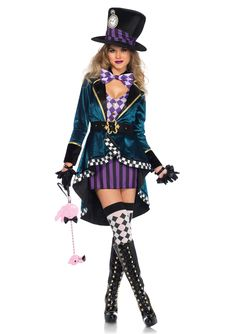 Are you ready for a tea party? This costume is perfect for any Alice in Wonderland fan! The costume includes the dress, jacket, belt, bow tie, and hat. Come to the Stagecoach for gloves, wigs, and sto