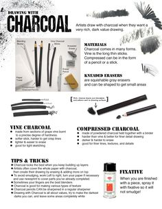 How to Draw with Charcoal handout for beginners or art studio courses.