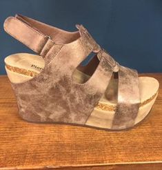 """Pierre Dumas Strapped Wedge - Bronze Use coupon code """"tsilvestri"""" @ checkout to receive 5% off"""