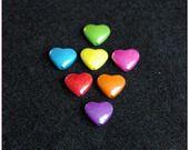 Perle coeur nacré multicolore plastique kawaii x1 : Perles en Plastique par lilycherry