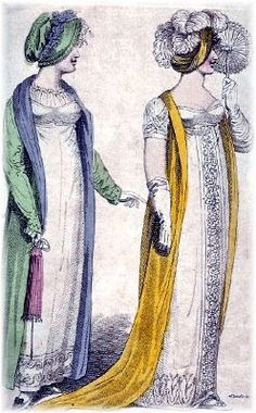 Pomona green bonnet and redingote, lined in slate silk, worn over a white walking dress. A puce reticule completes the picture. Right; White satin ball gown, topped with an evening primrose yellow robe and a turban with white ostrich feathers. Lady's Monthly Museum, July 1807