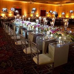 For the reception, we used our Crystal Chiavari chairs and paired them with our acrylic tables.