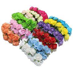 CCINEE 144 STKS Een lot 1 cm Hoofd Multicolor Kunstmatige Papieren Bloemen Rose Gebruikt Voor Decoratieve Gift