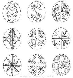 Hungarian patterns, by Monoriné Rohlik Erzsébet Easter Projects, Easter Crafts, Holiday Crafts, Easter Egg Pattern, Carved Eggs, Easter Egg Designs, Lace Painting, Ukrainian Easter Eggs, About Easter