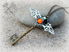 Steampunk Bat Key Necklace / Bat Necklace / by ArtbyStarlaMoore