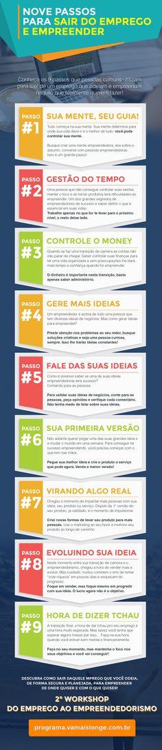 Infográfico - Nove Passos Para Sair do Emprego e Empreender.  http://programa.vamaislonge.com.br/infografico/