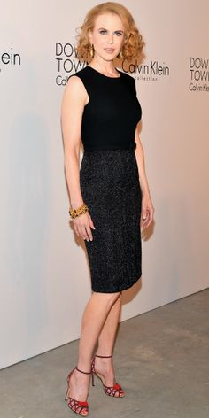Kidman dressed to nines for the Calvin Klein spring 2014 after-party, wearing a classic black ensemble by the designer. She accessorized wit...