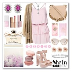 """Shein Cardigan Sweater"" by mlgjewelry ❤ liked on Polyvore featuring Rut&Circle, Christian Dior, Charlotte Tilbury, Salvatore Ferragamo, Casetify, Chloé, Prada, Miu Miu, Cara and Too Faced Cosmetics"