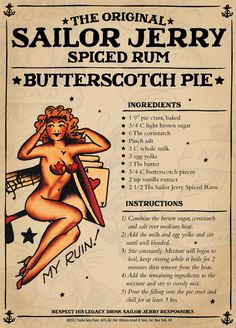 Sailor Jerry rum doesn& just make awesome cocktails, you can also use it to spice up your cooking life. Here are 10 recipes that make Sailor Jerry hard to beat. Rum Recipes, Retro Recipes, Vintage Recipes, Cooking Recipes, Dessert Recipes, Cooking Food, Cooking Tips, Just Desserts, Gastronomia