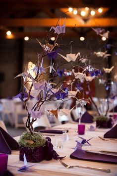 Paper Crane Reception Dinner Centerpieces