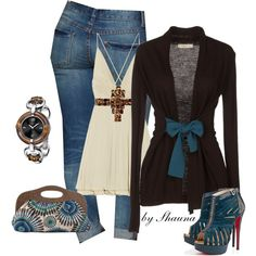 Adorable cardi and fantastic shoes, created by shauna-rogers on Polyvore
