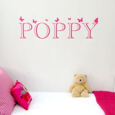 Looking as though they've been painted on to the wall, these big colourful name wall stickers will brighten your child's room, and comes with gorgeous butterflies! The price is per letter. The letter colour shown in the image is Fuchsia Pink, although this product is available in our full range of colours. Dimensions: 18cm high x 18cm per letter approx.