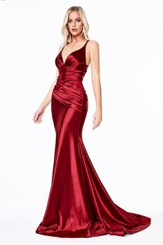 Pageant Dresses, Formal Dresses, Elegant Red Dresses, Long Red Dresses, Formal Wear, Pretty Dresses, Gold Evening Gowns, Red Evening Dresses, Satin Gown
