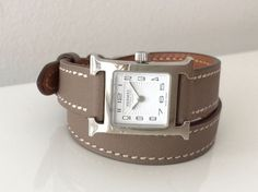 hermes womens h hour heure h mini ppm watch double tour taupe leather strap ebay