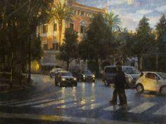 "Crosswalk at Dusk, Roma  Oil on Canvas  30"" x 40"""