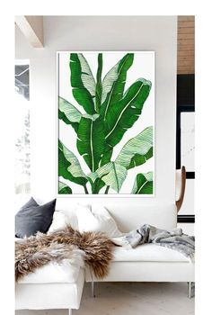 Watercolor Tropical Leaf Canvas Art Print Poster, Wall Pictures for Home Decoration Motif Tropical, Tropical Leaves, Tropical Plants, Plant Painting, Plant Art, Leaf Prints, Canvas Art Prints, Painted Leaves, Home Pictures