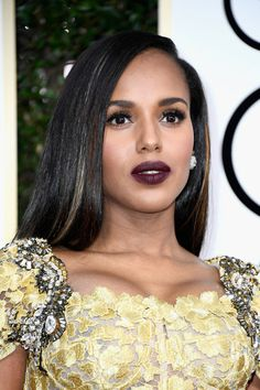 Kerry Washington Long Straight Cut - Kerry Washington showed off perfectly flat-ironed hair at the Golden Globes. Golden Globe Award, Golden Globes, Kerry Washington Hair, Glam Makeup, Hair Makeup, Bobbi Brown, Divas, Olivia Pope Style, Texas Hair