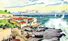 """Playa Chica y Golpes de Ola"". Autor: Martinet. Acuarela (década 1940)…"