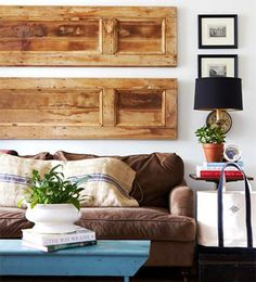 Coastal design tips for your beach house blank walls. Tips to give your big blank walls even bigger coastal design. Salvaged Doors, Old Doors, Wooden Doors, Repurposed Doors, Wooden Shutters, Recycled Door, Green Shutters, Rustic Doors, Window Shutters