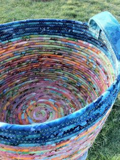 Colorful Cauldron Sea Anemone Coiled Rope Basket by mountainmud