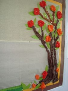 Tree bulletin board, used this idea to create an orange tree for teacher appreciation week. Classroom Tree, Classroom Bulletin Boards, Classroom Decor, Preschool Bulletin, Classroom Quotes, Bulletin Board Tree, Spring Bulletin Boards, Boarders For Bulletin Boards, Sunday School Decorations