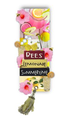 """Bees, Lemonade, Summertime !"" by auntiehelen ❤ liked on Polyvore featuring art"