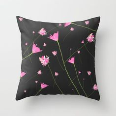 Flowers in the Night II Throw Pillow