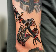 tattoo old school / traditional nautic ink - dagger knife with snake