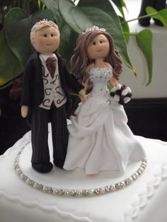 personalised wedding cake topper bride, groom on a base (DEPOSIT) all handmade to your details