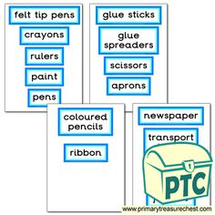 Classroom Equipment Drawer Labels & Posters - Primary Treasure Chest Teaching Activities, Teaching Resources, Teaching Ideas, Drawer Labels, Classroom Signs, Classroom Organisation, Treasure Chest, Crafts For Kids, Posters