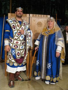 Byzantine garb done by a group of people. I made the pallium (stole wrapped around him).
