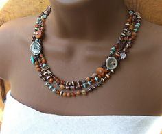 brown orange silver turquoise necklace 030 | Flickr - Photo Sharing!