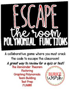 Beginning of the year instructional coaching tools includes forms escape the room polynomial functions a review game fandeluxe Images