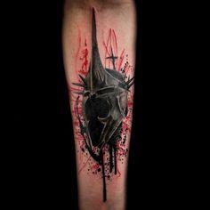 Trash Polka Litch King Warcraft tattoo