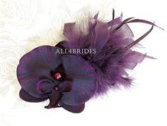 Eggplant plum orchid flower fascinator