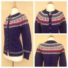 Beautiful Vintage Christmas Cardigan Winter Sweater in Red White and Blue - Wool Knit - Polka Dot - Size Small Medium