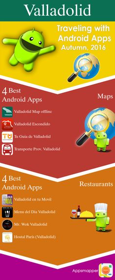 Valladolid Android apps: Travel Guides, Maps, Transportation, Biking, Museums, Parking, Sport and apps for Students.