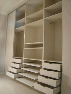 Wowsa! This is a great closet set up! Plenty of drawers, shelves and hanging rods!