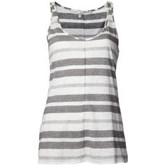 10 CROSBY DEREK LAM stripe tank ($46) ❤ liked on Polyvore featuring tops, shirts, tank tops, tanks, blusas, gray shirt, scoop neck tank top, striped top, stripe top and grey tank top