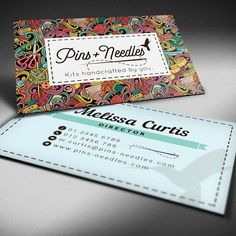 Create a fresh, contemporary business card design for Pins   Needles by Veronika Rodina
