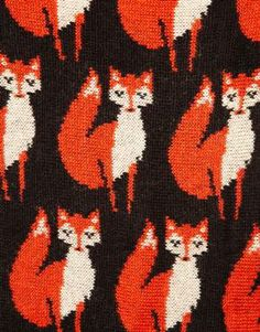 ASOS Fox Knit Funnel Snood - close up of the fox pattern