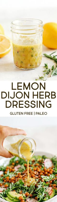 Bright and fresh Lemon Dijon Herb Dressing made in just minutes with a few simple pantry ingredients! Perfect for salads, veggies, marinades, and more! Clean Eating Recipes, Healthy Eating, Healthy Food, Skinny Recipes, Paleo Recipes, Easy Dressing Recipe, Leafy Salad, Eat Yourself Skinny, Lemon Herb