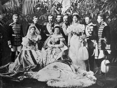 Nicholas II's Coronation guests, 1896 Seated L-R: Crown Princess Marie of Romania; Grand Duchess Marie Alexandrovna The Duchess of Edinburgh Standing L-R: Male Page?; Crown Prince Ferdinand of Romania; Ernst Louis The Grand Duke of Hesse; Male Page?;...
