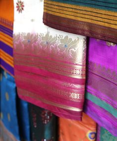 Silk saris dazzle in every colour of the rainbow in Mumbai, India.
