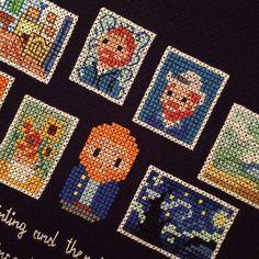 Mini Van Gogh Masterpieces X-stitch Cross Stitch Bookmarks, Mini Cross Stitch, Simple Cross Stitch, Embroidery Art, Cross Stitch Embroidery, Embroidery Patterns, Perler Bead Art, Perler Beads, Van Gogh