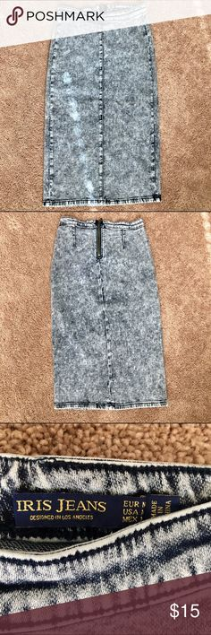 Acid Washed Jean | Denim Midi Pencil Skirt Brand New Skirt! No tags but never worn. Excellent Condition iris Jeans Skirts Midi