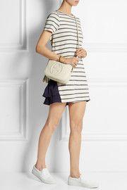 Ruffle-paneled cotton-blend mini dress